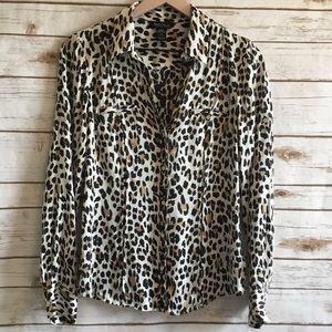 WHITE HOUSE BLACK MARKET Silk Leopard Print Shirt